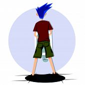 blue hair man urinating from behind