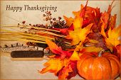 pic of thanksgiving  - A Happy Thanksgiving card with autumn decorations and text - JPG