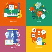Set of flat design concept icons for school and education. Icons for music, sports, anatomy and phil