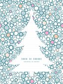 Vector colorful bubbles Christmas tree silhouette pattern frame card template