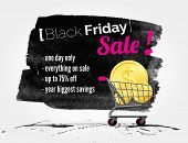 pic of friday  - vector Black Friday watercolor banner with splashes of ink and shoppping cart - JPG
