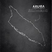 Aruba map blackboard chalkboard vector