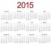 Vector modern 2015 calendar on white