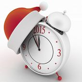 Alarm clock with christmas santa hat, 3d illustration on white background