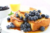 picture of french toast  - French Toast and Blueberries in breakfast setting - JPG