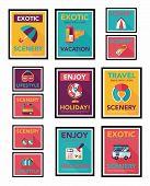 Travel Poster Banner Design Flat Background Set, Eps10