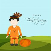 Cute little tribe boy with pumpkin on nature background for Happy Thanksgiving Day celebrations.
