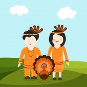 Cute little tribe kids with turkey bird on with nature background for Happy Thanksgiving Day celebrations.