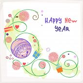 Beautiful floral design decorated poster, banner or flyer for Happy New Year celebrations.