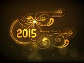 Happy New Year 2015 greeting card design with shiny golden text on floral design decorated brown background.