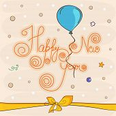 Happy New Year greeting card design with stylish text, balloon and ribbon on star decorated background.