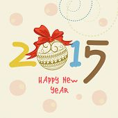 Happy New Year 2015 text design with floral decorated X-mas ball on stylish beige background.