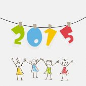Happy New Year celebration poster with colorful hanging text 2015 and cute sketch of cartoon girls on grey background.