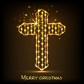 Golden Christian cross for Merry Christmas celebration on shiny brown background, can be use as poster, banner or flyer.