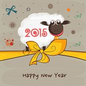Poster, banner or flyer for Happy New Year with ribbon and sheep on stylish background.