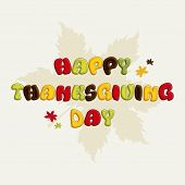 Beautiful greeting card design for Happy Thanksgiving Day celebrations with stylish colourful text on seamless maple leaf decorated background.