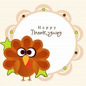 Thanksgiving stylish frame with cute cartoon of turkey bird on beige background.