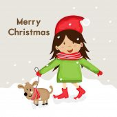 Cute cartoon of a girl in Santa cap walking with puppy on winter snow covered background for Merry Christmas celebrations.
