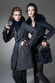 stock photo of outerwear  - high young attractive two girl wearing fur coat holding purse on gray background  - JPG