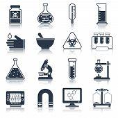 Laboratory equipment icons black