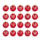 stock photo of x-files  - Christmas red baubles set with snowflakes on the white background - JPG