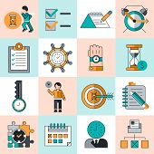 Time management icons flat line