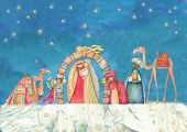 pic of nativity scene  - Illustration of Christian Christmas Nativity scene with the three wise men - JPG