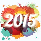 2015 New Year Abstract Paint Splat Colorful Background