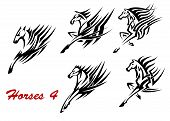 Galloping horses icons or tattoos