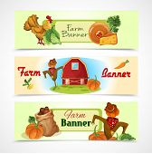 stock photo of scarecrow  - Farm decorative horizontal banners set with cow chicken house and scarecrow isolated vector illustration - JPG