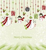 picture of candy cane border  - Vintage Christmas card with ornate elegant abstract floral design hanging ornaments snowman candy cane gifts balls ponsettia stars and snowflakes with pine needles on pale green background - JPG