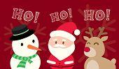 Santa Claus Snowman Reindeer Christmas Cartoon On Red Background