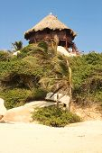 Cottage at Tayrona. Caribbean beach. Colombia