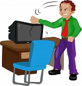 Angry Man Pounding On A Tv, Illustration