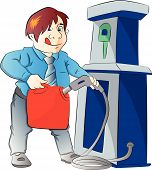 Man Pumping Gasoline Into A Container, Illustration