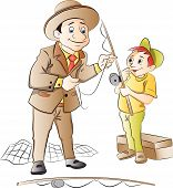 Man Teaching A Boy How To Fish, Illustration
