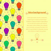 Vector background with light bulb in flat style