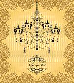 Vintage Invitation Card With Ornate Elegant Grunge Floral Design