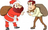 Vector Of Santa And Burglar With Sacks On Their Back.