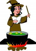 pic of witches cauldron  - Vector illustration of a witch pronouncing a magic formula cauldron in foreground - JPG