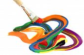 Colorful paint magic brush mix