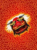 Lion mask over red karakusa festival pattern