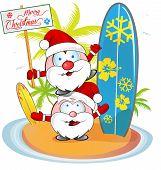 Santa Claus Cartoon On Island Beach Background