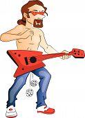 Vector Of Shirtless Man Playing Guitar.