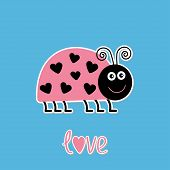 Cute Cartoon Pink Lady Bug With Dots In Shape Of Heart. Love Car