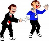 Vector Of Boss Hitting Employee.