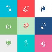 Abstract set. Flat color vector icons.