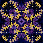 Butterflies. Seamless kaleidoscopic  pattern