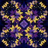 Butterflies. Seamless kaleidoscopic  pattern