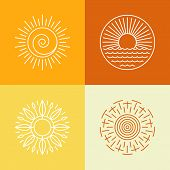Vector Outline Sun Icons And Logo Design Elements